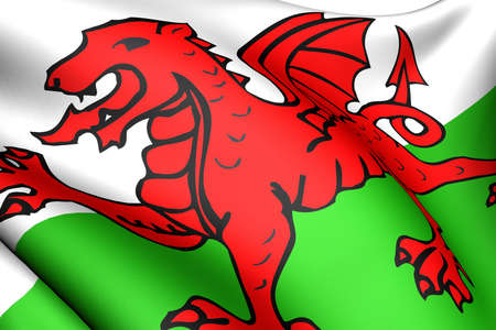 united kingdom: Flag of Wales against white background. Close up.