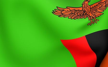 zambia: Flag of Zambia. Close up. Front view.  Stock Photo