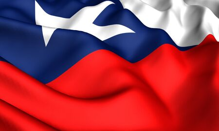Flag of Chile. Close up. Front view. photo