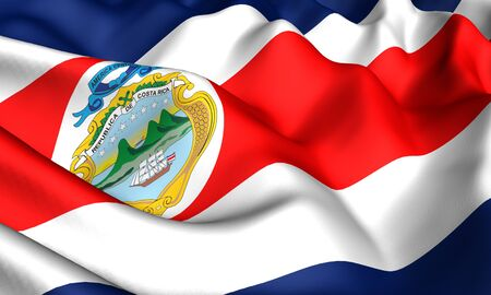 costa: Flag of Costa Rica. Close up. Front view.