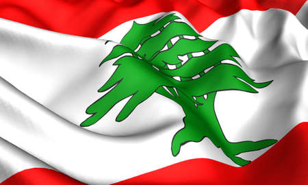 Flag of Lebanon. Close up. Front view.  photo