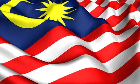 Flag of Malaysia. Close up. Front view.  photo
