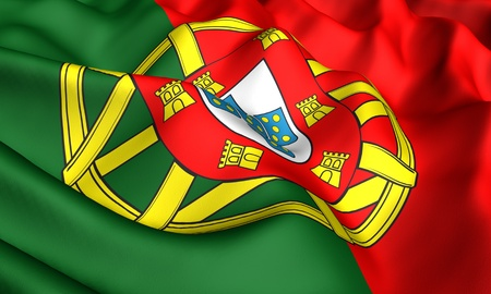 Flag of Portugal. Close up. Front view.  photo