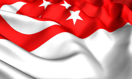Flag of Singapore. Close up. Front view.
