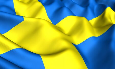 scandinavia: Flag of Sweden. Close up. Front view.  Stock Photo