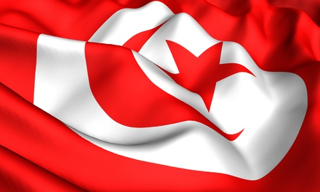 Flag of Tunisia. Close up. Front view.  photo
