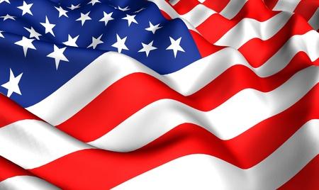 banderas americanas: Bandera de Estados Unidos. Cerrar. Vista frontal.  Foto de archivo