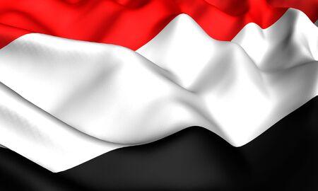 yemen: Flag of Yemen. Close up. Front view.