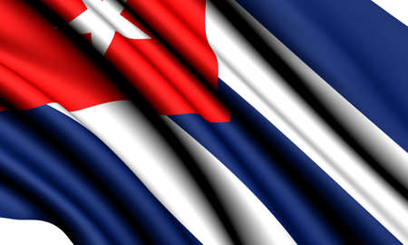 Flag of Cuba against white background. Close up.  photo