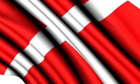 Flag of Denmark against white background. Close up.  photo