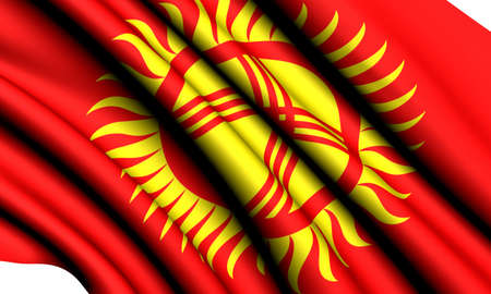 kyrgyzstan: Flag of Kyrgyzstan against white background. Close up.