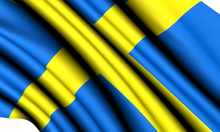 Flag of Sweden against white background. Close up.  photo