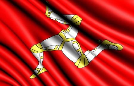 man close up: Flag of Man. Close up.  Stock Photo