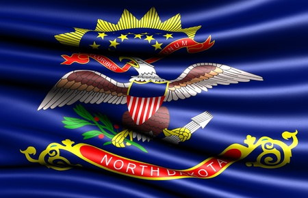 dakota: Flag of North Dakota, USA. Close up.  Stock Photo