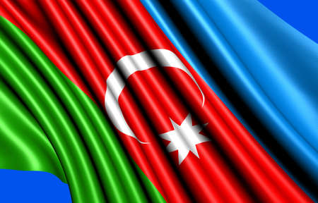 azerbaijanian: Flag of Azerbaijan against blue background. Close up.  Stock Photo
