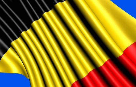 Flag of Belgium against blue background. Close up.  Stock Photo - 8994278