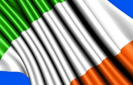 Flag of Ireland against blue background. Close up. Stock Photo - 8994216