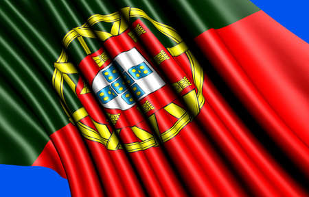 Flag of Portugal against blue background. Close up.  photo
