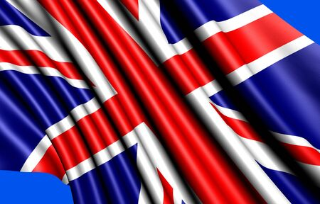 Flag of UK against blue background. Close up.  photo