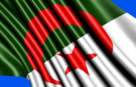Flag of Algeria against blue background. Close up.  Stock Photo - 9022325