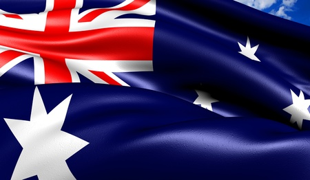 Flag of Australia against cloudy sky. Close up.  photo
