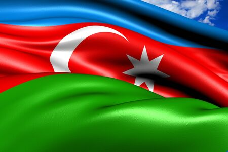 azerbaijanian: Flag of Azerbaijan against cloudy sky. Close up.