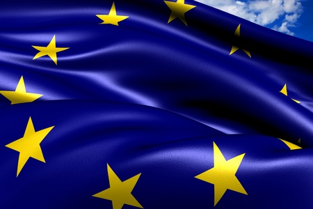 eu: Flag of EU against cloudy sky. Close up.