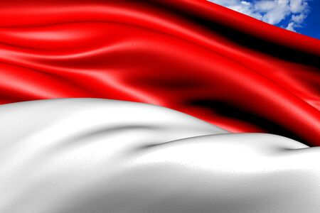 monaco: Flag of Monaco against cloudy sky. Close up.  Stock Photo