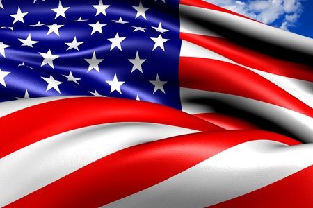 Flag of USA against cloudy sky. Close up.  Stock Photo