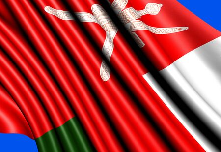 oman background: Flag of Oman against blue background. Close up.