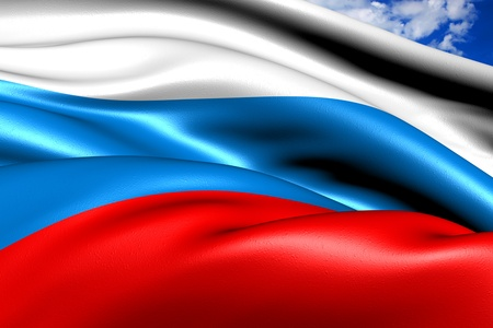 Flag of Russia against cloudy sky. Close up.