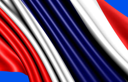 Flag of Thailand against blue background. Close up.  photo