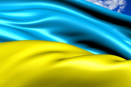 ukraine flag: Flag of Ukraine against cloudy sky. Close up.