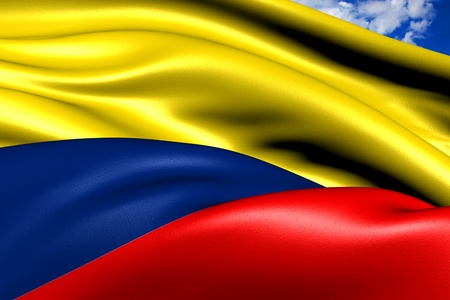 la bandera de colombia: Bandera de Colombia contra el cielo nublado. Cerrar.  Foto de archivo