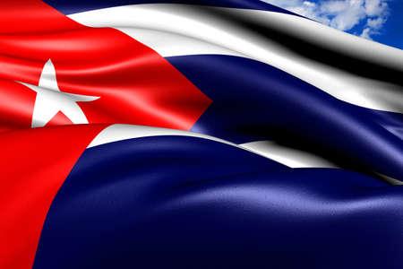Flag of Cuba against cloudy sky. Close up.  photo