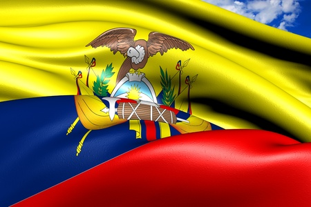 Flag of Ecuador against cloudy sky. Close up.  photo
