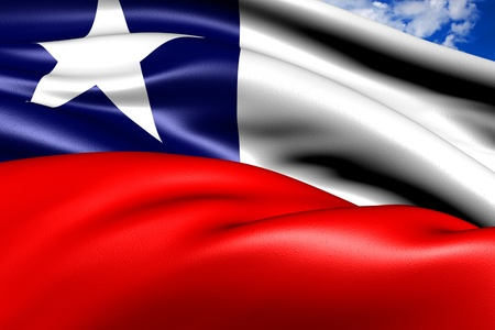 Flag of Chile against cloudy sky. Close up.  Stock Photo - 9082354