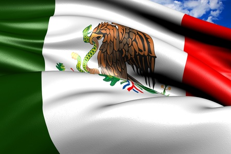 Flag of Mexico against cloudy sky. Close up.