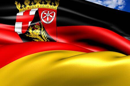 stuttgart: Flag of Stuttgart city, Germany against cloudy sky.