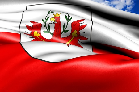tyrol: Flag of Tyrol against cloudy sky. Close up.