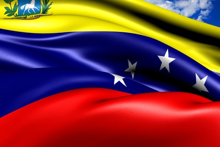 Flag of Venezuela against cloudy sky. Close up.  photo