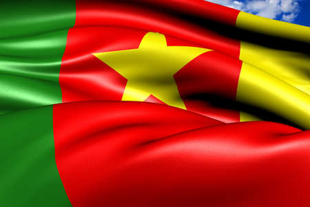 Flag of Cameroon against cloudy sky. Close up.  Stock Photo - 9120095