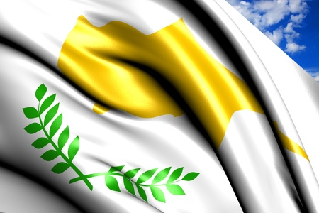 Flag of Cyprus against cloudy sky. Close up.  photo