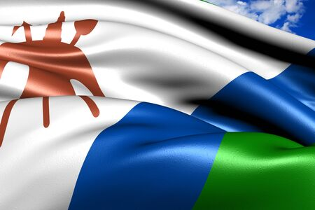 lesotho: Flag of Lesotho against cloudy sky. Close up.