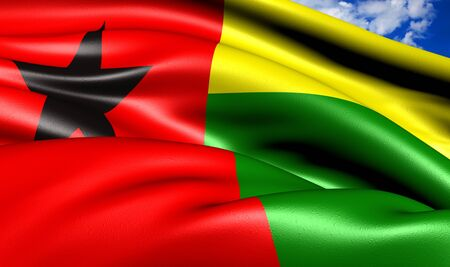 Flag of Guinea-Bissau against cloudy sky. Close up. Stock Photo - 9120067