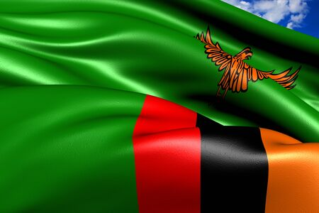 Flag of Zambia against cloudy sky. Close up.
