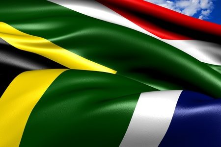 Flag of South Africa against cloudy sky. Close up.