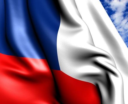 Flag of Czech republic against cloudy sky. Close up.  photo