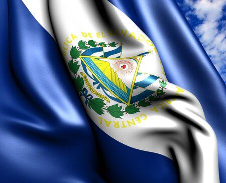 el: Flag of El Salvador against cloudy sky. Close up.