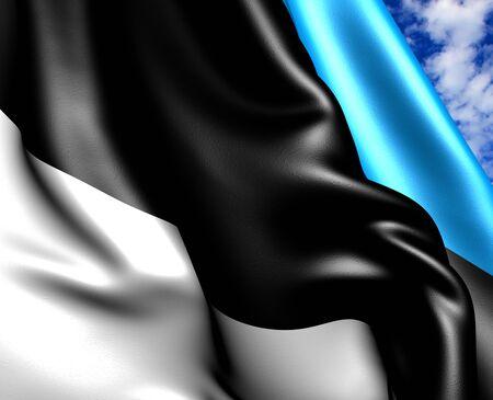 Flag of Estonia against cloudy sky. Close up.  photo